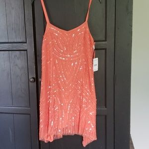 New with tags Free People sequin dress on coral